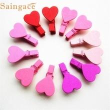 Zero 12Pcs Mini Heart Love Wooden Clothes Photo Paper Peg Pin Clothespin Craft Clips