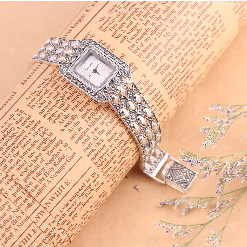 100% 925 Sterling Silver Watch Quartz Wristwatch for Women Lady Fashion Thail Silver Female Bracelet Watch Silver