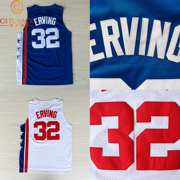 0db86391 ... New Jersey Julius Erving 32 throwback basketball jersey Dr J Retro  Embroidery Logos Jerseys Blue .