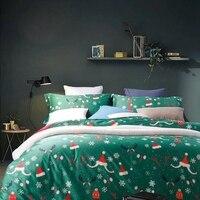100% ägyptischer Baumwolle Grüne Weihnachten Bettbezug Set Rot Einfarbig Bettlaken Schneeflocke Kissenbezug Königin König Bettwäsche-sets