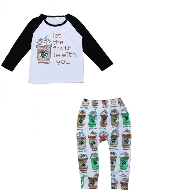 Baby Boys Girls Clothing Sets Boy Girl Cotton Spring 2Pcs Suits Long Sleeve T Shirt+Pants Kids Coffee Cups Tshirts Leggings 10D