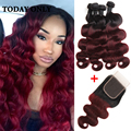 Queen Hair Brazilian Body Wave with Closure 10A Virgin Ombre Brazilian Hair with Closure Mink Brazilian Virgin Hair with Closure