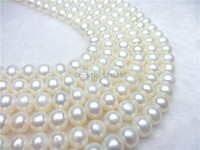 Fashion 9-10MM White Abacus Oblate Freshwater Shell Pearls Loose Beads Jewelry Semi-finished Necklace Ornaments Wholesale Supply