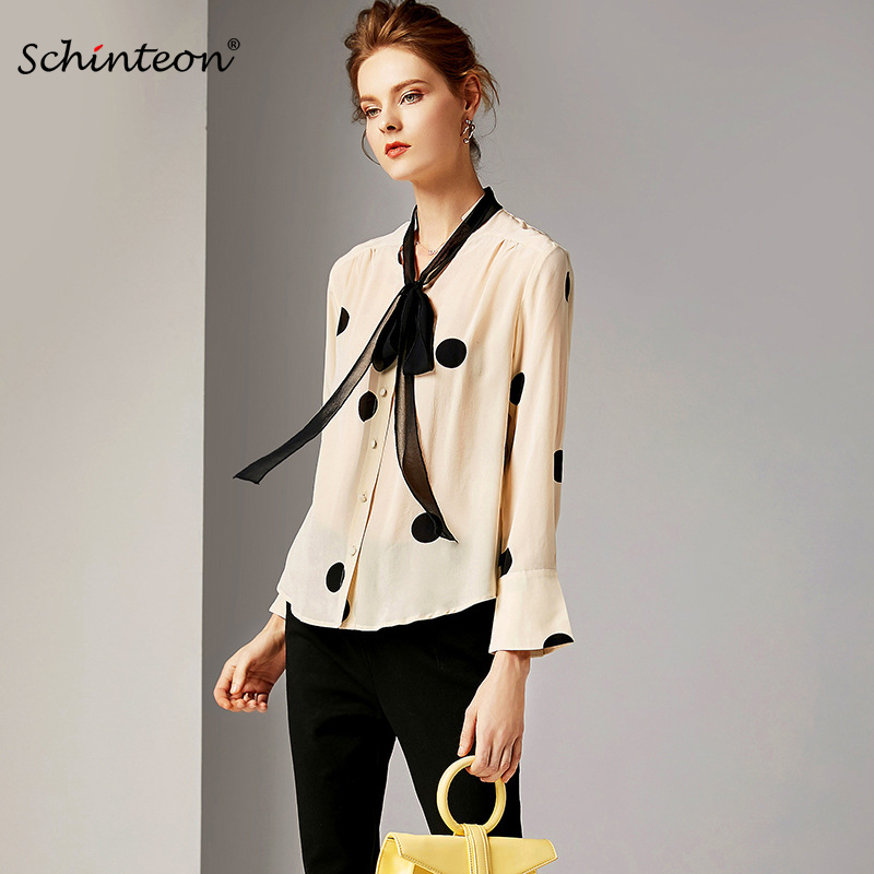 bbf94540443bbb Detail Feedback Questions about 2019 Schinteon 100% Real Silk Polka Dot Blouse  Print Shirt Women Spring Summer Bow Collar Long Sleeves Fashion Women Top on  ...