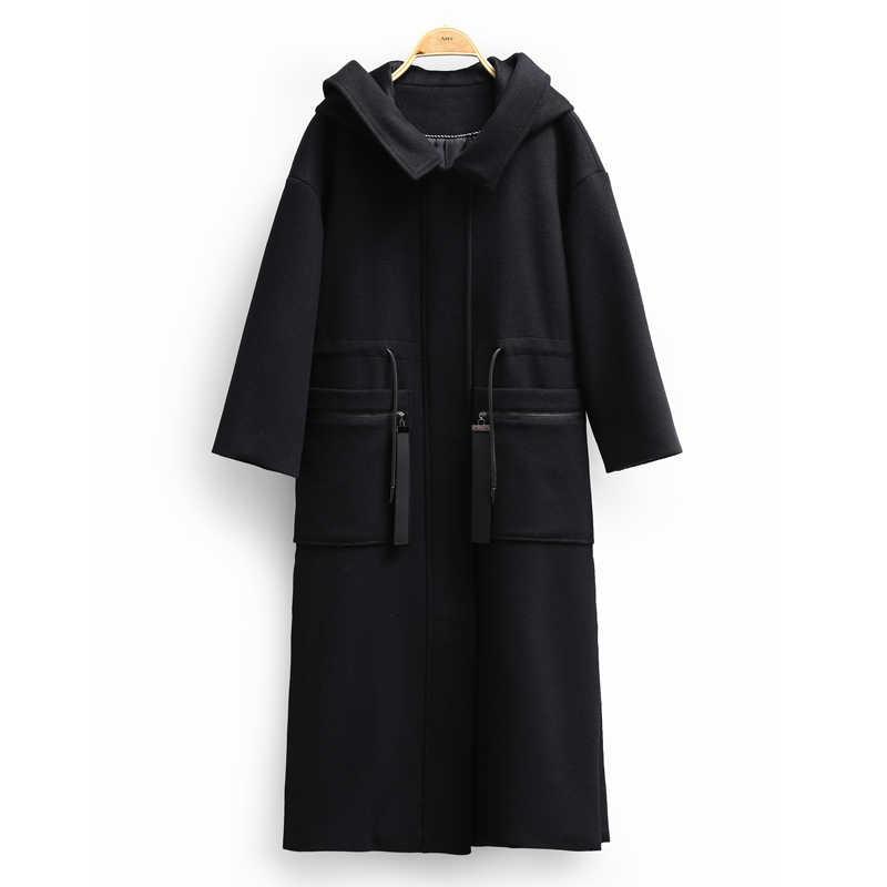 Amii Minimalist Side Slit Wool Coat Women Winter 2018 New Solid Zipper Pockets Loose Causal Female Hooded Long Coat