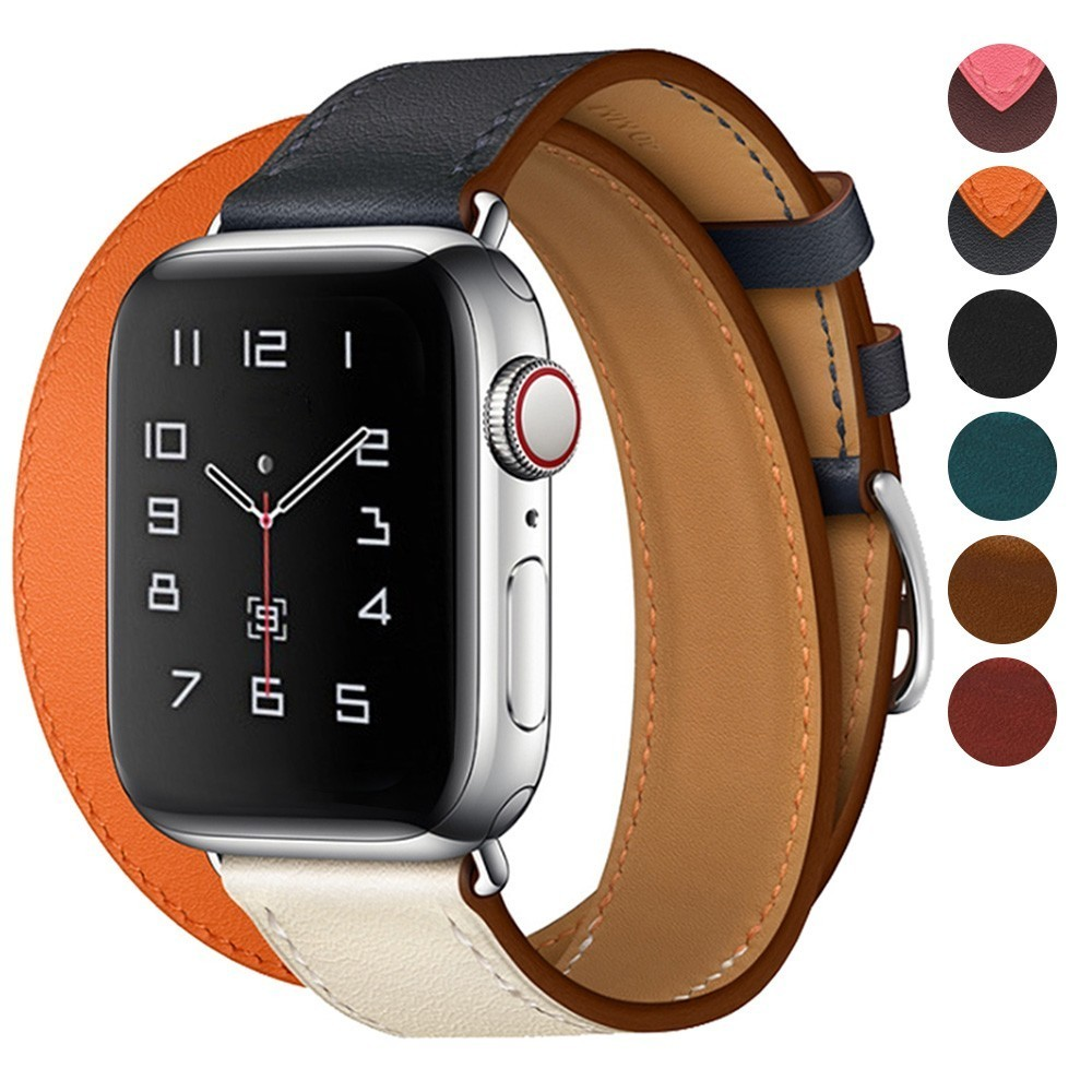Genuine Leather Band Double Tour Bracelet Leather Strap Watchband for Apple Watch 44mm 40mm iwatch Series5 4 3 2 38mm 42mm woman image