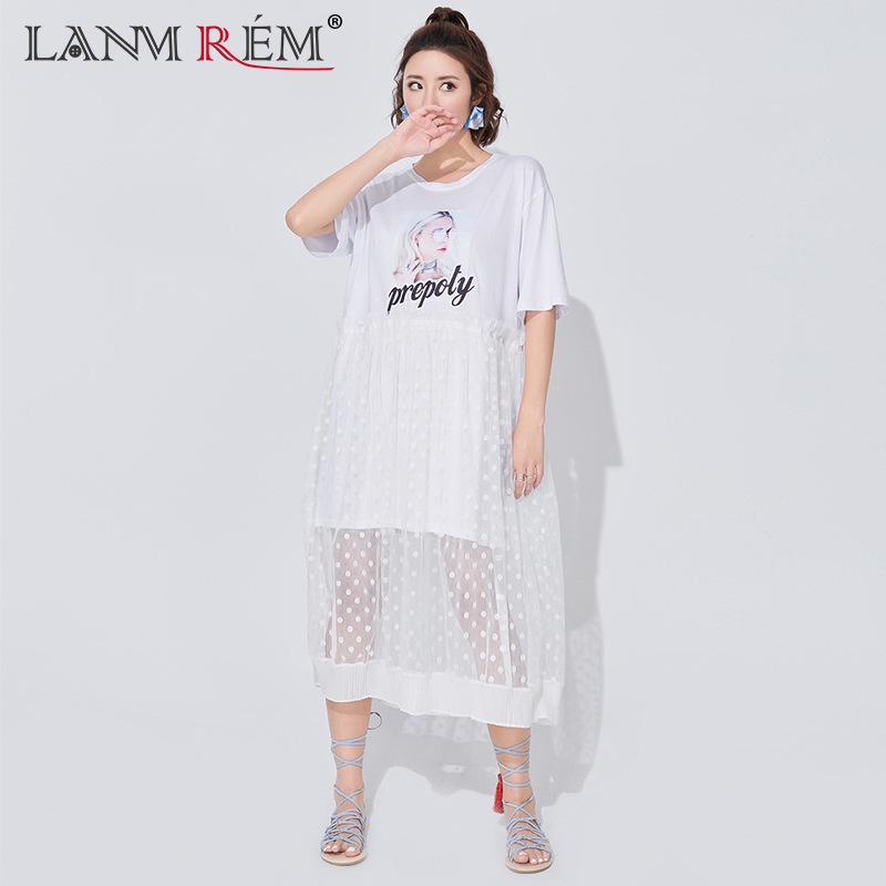 LANMREM 2018 Autumn Summer New Pattern O-neck Character Printing Short Sleeve Fake Two Pieces Ladies Fashion Mesh Dress BA955