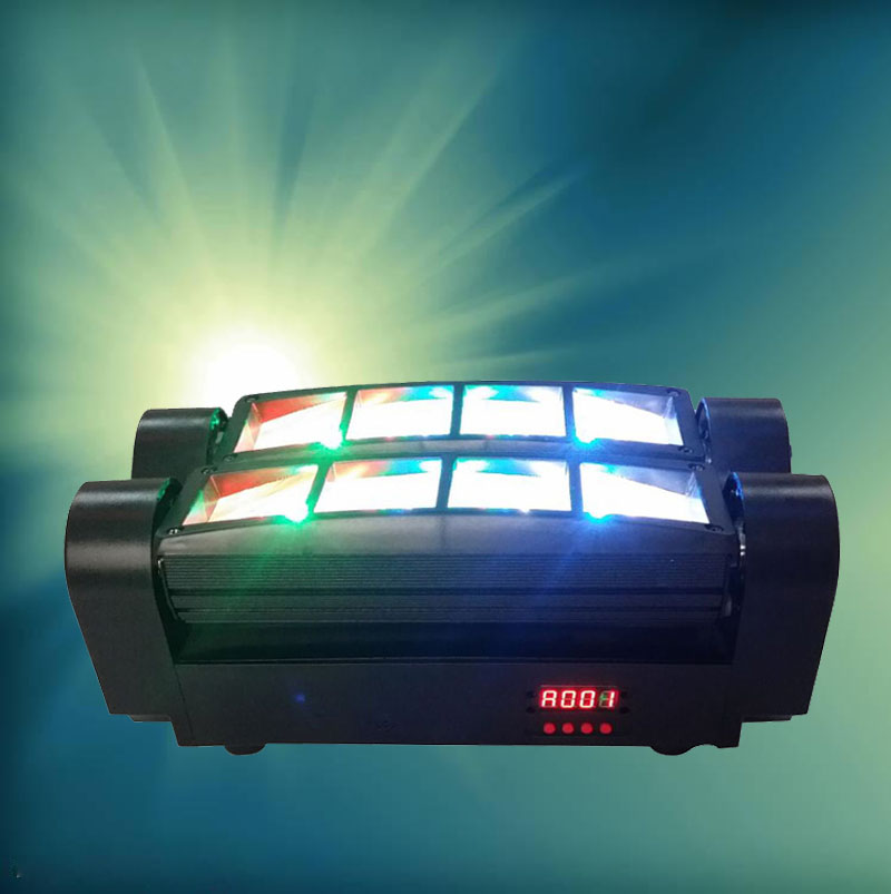 DMX Stage Moving Head Light 8x10W RGBW 4in1 LED Mini Spider Beam Light For Weeding Disco Bars DJ KTV Party