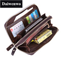 Brand First Layer Real Leather Day Clutch Bag Men Wallets Large Capacity Male Long Wallet Phone Bag Oil Wax Cowhide Purse Gift