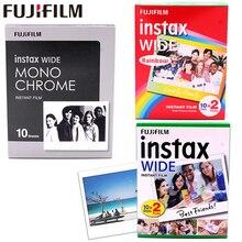 10 100 แผ่น Fujifilm Instax WIDE Instant Film สีขาว/สายรุ้ง/Monochrome สำหรับ Fuji 300 /200/210/100/500AF