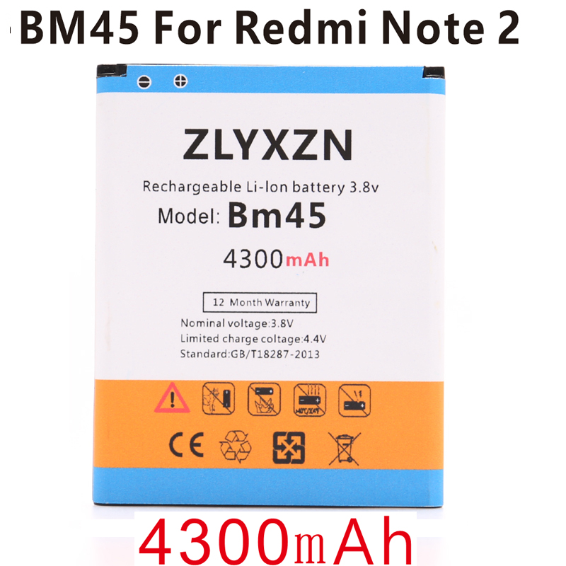 Battery-Polymer-Batteries BM45 Note Xiaomi Redmi Ce for 2-Battery Rice 2-prime/Hongmi/Note2