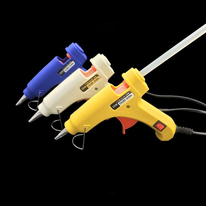 Высокая температура нагреватель растопить горячий клей пистолет 20 Вт инструмент для ремонта тепловые пушки синий/белый/желтый мини пистолет ЕС Plug использование 7 мм термоклей палочки