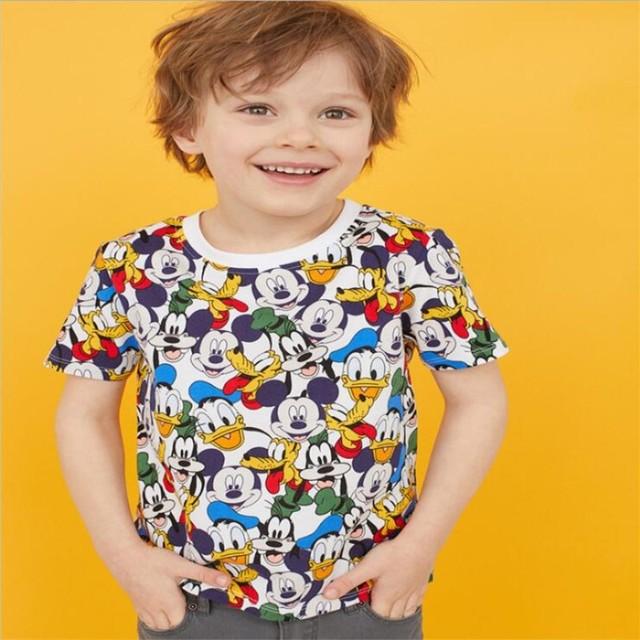 Camiseta linda del verano del niño Camiseta de manga corta linda del Mini ratón de la historieta de los niños con los animales impresos camisetas de los niños camisetas de algodón