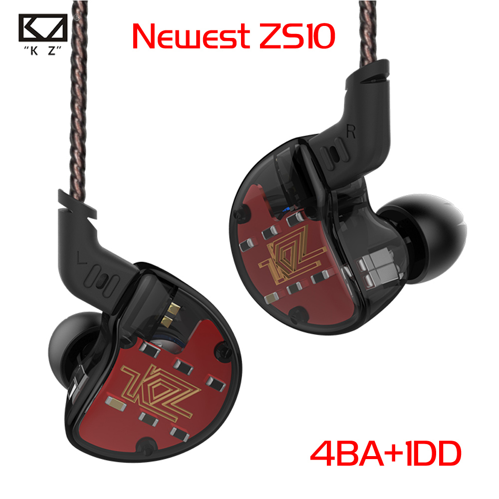 KZ ZS10 4BA+1Dynamic Hybrid In Ear Earphone HIFI DJ Monito Running Sport Earphone 5 Drive Unit Headset Earbud Earphone Pre-sale kz ates ate atr hd9 copper driver hifi sport headphones in ear earphone for running with microphone game headset