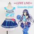 Japanese Anime Love Live Sonoda Umi Cosplay Costume Lolita Blue Cheerleading Uniforms Plus Size