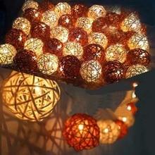 5m 20 Bulbs Sepak Takraw Rattan Balls LED String Garland lights Luminarias Wedding Christmas Party Decoration White/Coffee