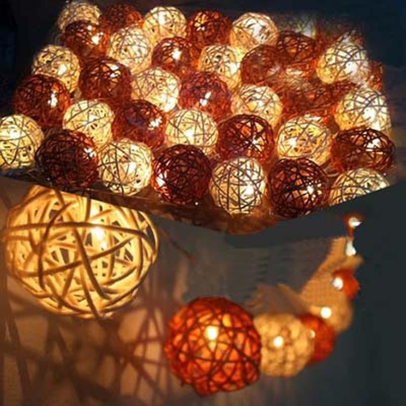 Yimia 5 м 20 лампы сепактакрау ротанга Мячи Гирлянды светодиодные огни гирлянды Luminarias Свадебные для рождественской вечеринки украшения Белый/Кофе
