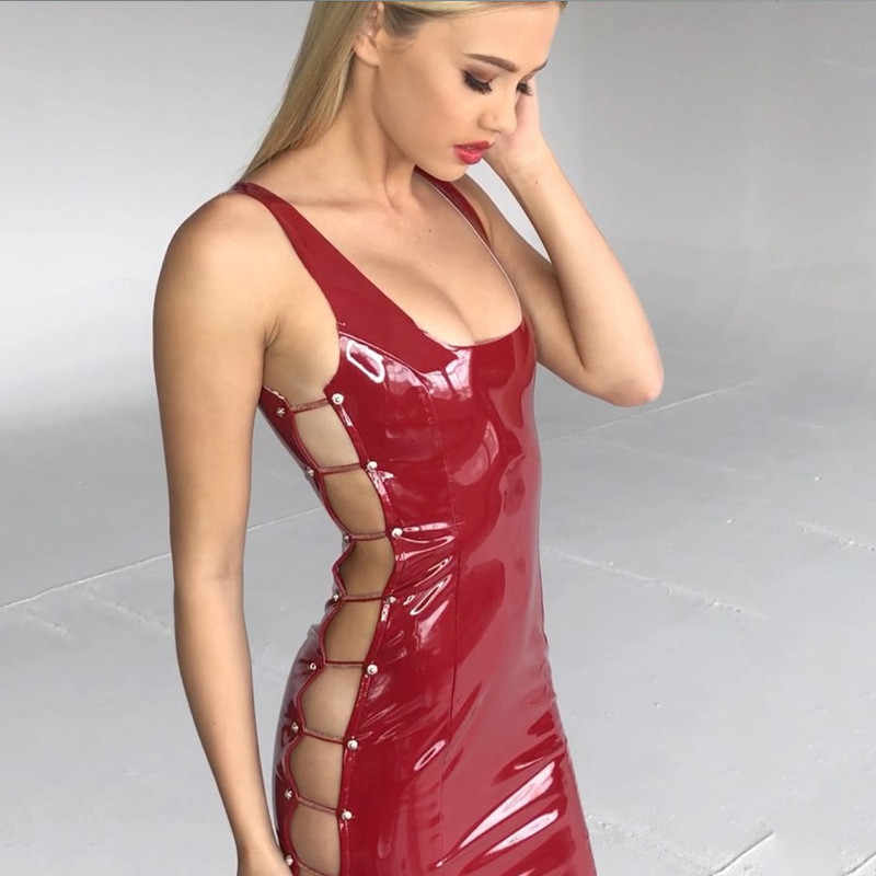 1864bdab1b ... FABCHARMAX 3 color women sexy latex dress hollow out chains tank top  sleeveless red PU club ...