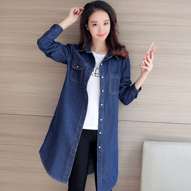 Denim Long Cardigan Trench Coat Autumn Winter Women Windbreaker Blue