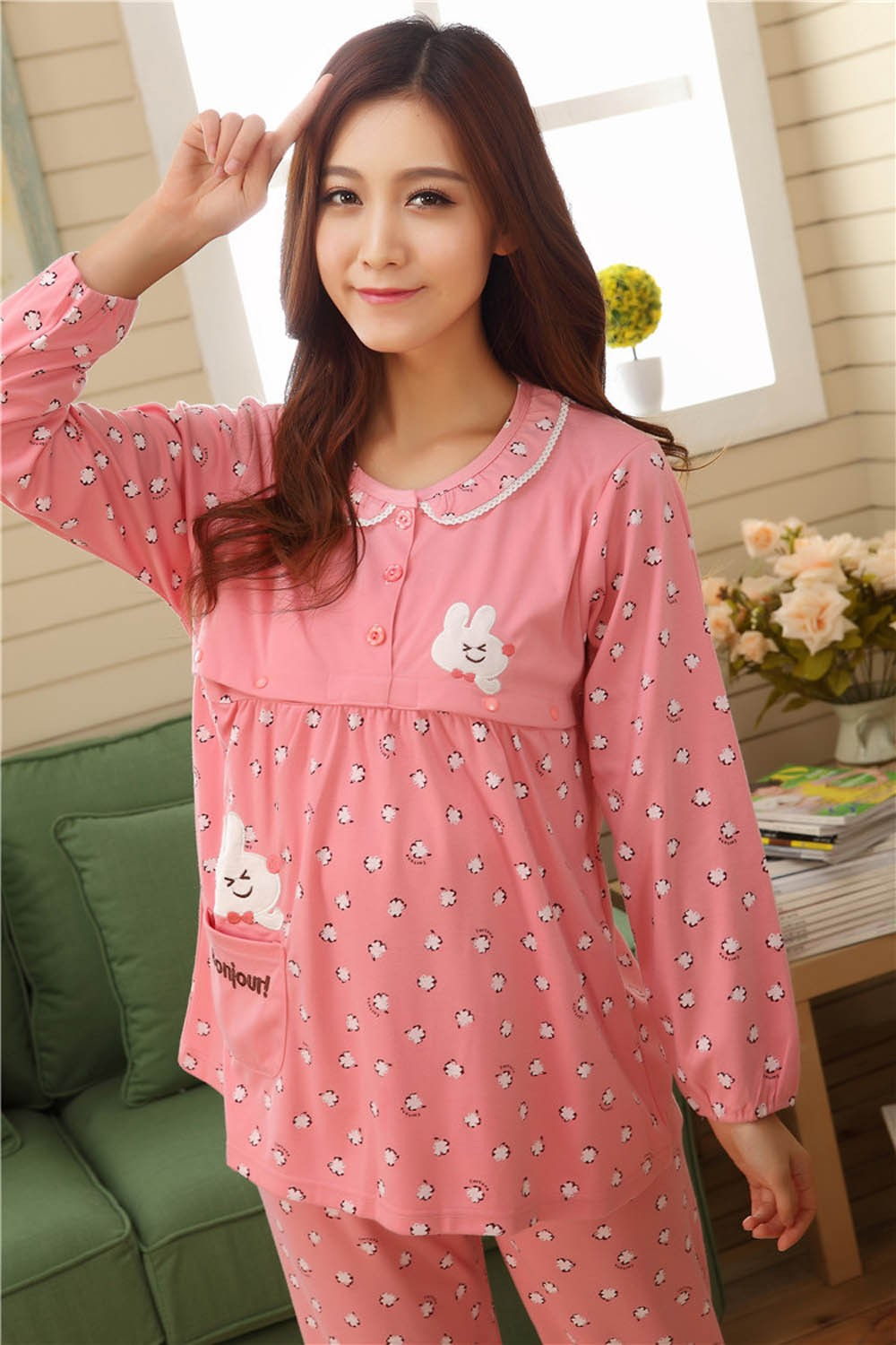 Pregnant-Woman-Pajamas-Postpartum-Breastfeeding-Month-Of-Serving-Lapel-Clothes-Long-sleeve-Sleepwear-Suits-CL0800 (12)