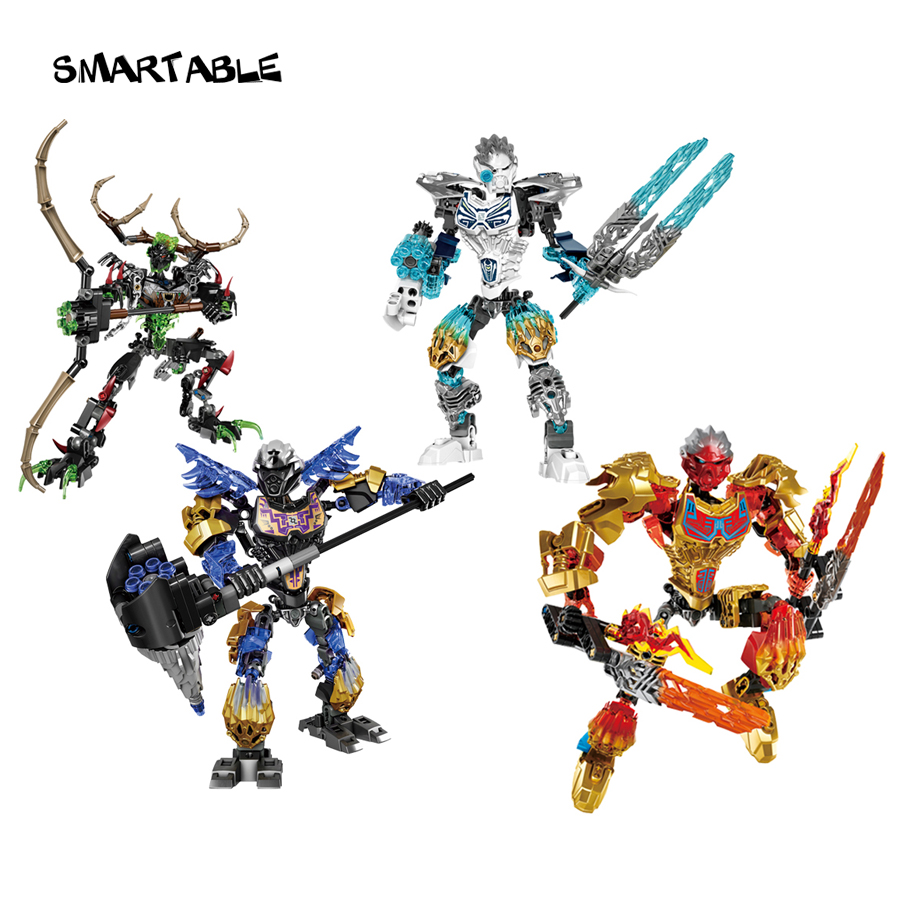 Serie BIONICLE 4 pcs / set Earth ICE Fire Hunter Figuras de acción 611 Building Block Toys For Boy Compatible legoing BIONICLE Regalo