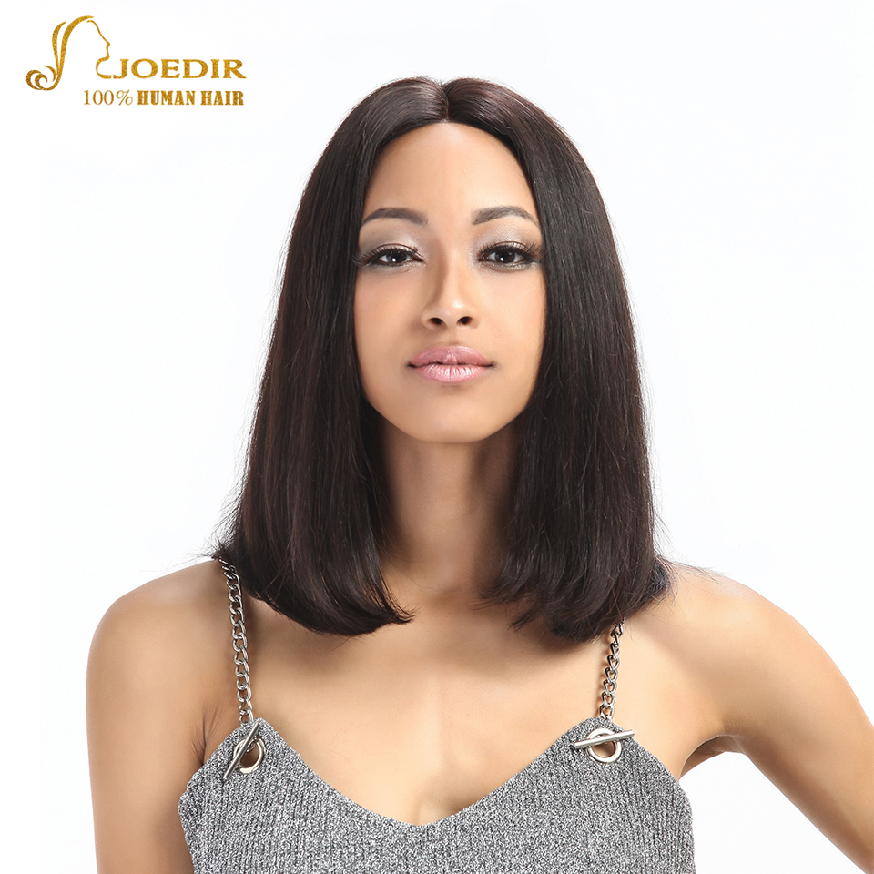 Joedir Straight Human Hair Wigs Remy Short Lace Front Human Hair Wigs For Black Women 10 & 12 Inches Brazilian Half Bob Wigs