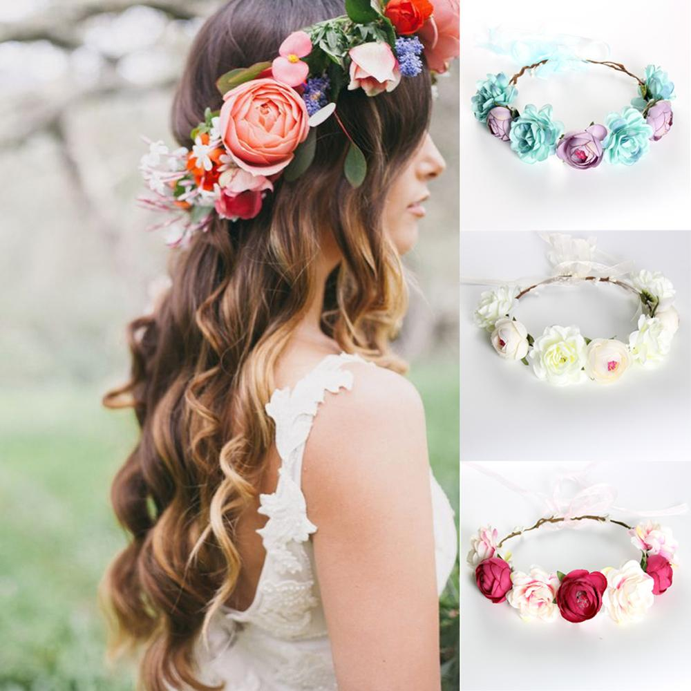 Girls Headband Cloth Flower Faux Pearl Crystal Hairband Hair Hoop Accessories