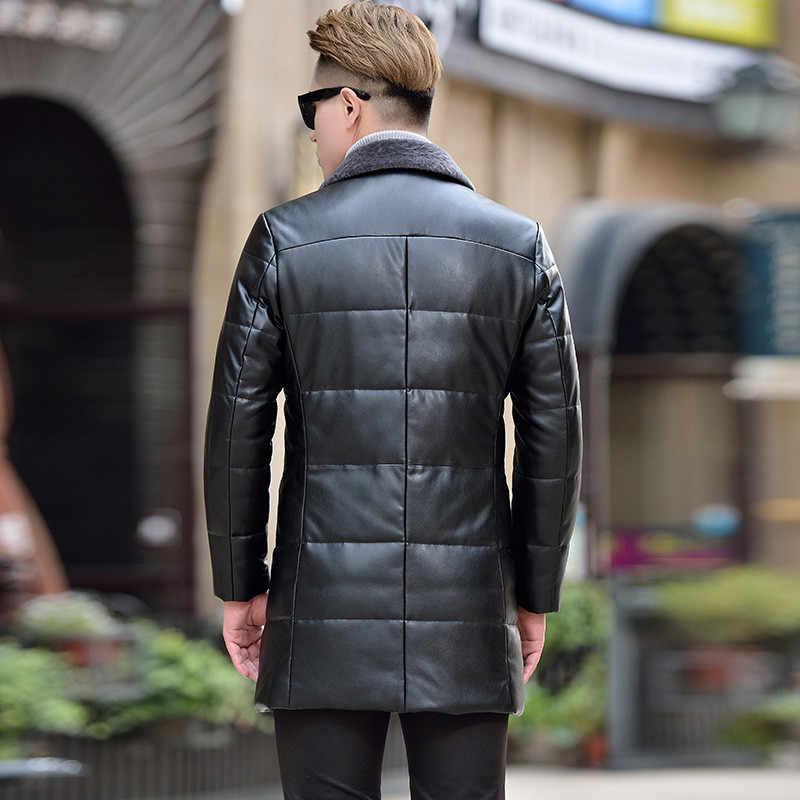Мужской пуховик из искусственной кожи, Осень-зима, новые шерстяные куртки с отворотами, деловые повседневные, большие размеры 4XL, Мужская теплая верхняя одежда, черный тонкий N742