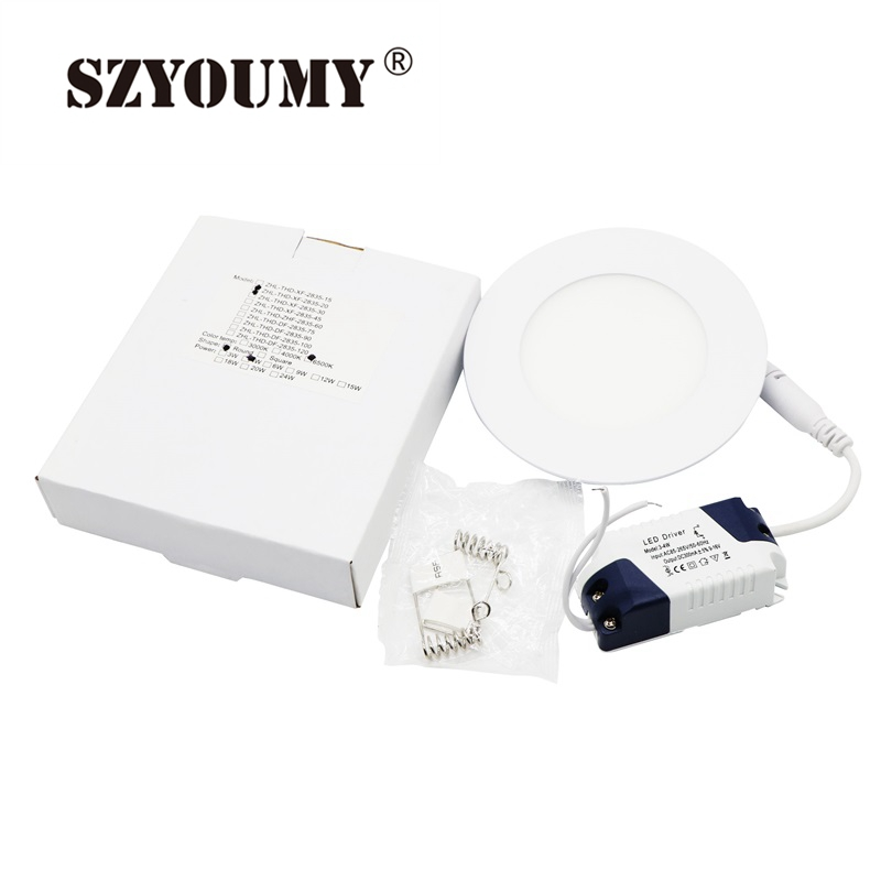6w 12w 18w 24w Led Recessed Ceiling Flat Panel Down Light: SZYOUMY Dimmable 6W 9W 12W 15W 18W 24W LED Panel Downlight