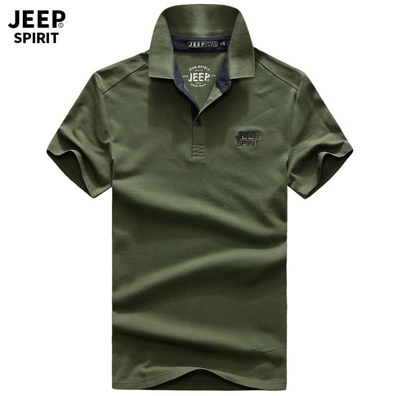 JEEP SPIRIT Brand   Polos   Men Shirt Summer   Polos   para hombre Cotton Breathable   Polos   de marca Tops&Tees Military Fashion Logo 3XL