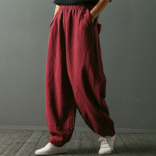 SCUWLINEN 2018 Trousers for Women Pants Original Design Solid Loose Casual Elastic Waist Linen Long Harem Pants Female W3068