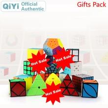 QiYi Подарочный пакет волшебный куб 4 комплекта шт 2x2x2 3x3x3 4x4x4 5x5x5 комбинированный роскошный пакет Нео скоростной куб головоломка игрушки