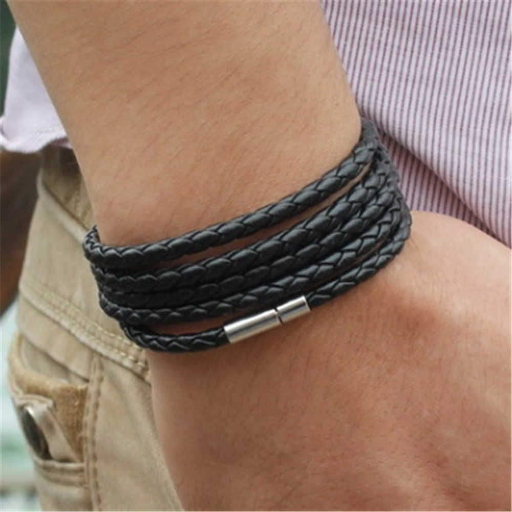 Hot Sale Classic Style Black Retro Wrap Long Leather Bracelet Men Bangles Fashion Chain Link Unisex Charm Bracelet With 5 Laps