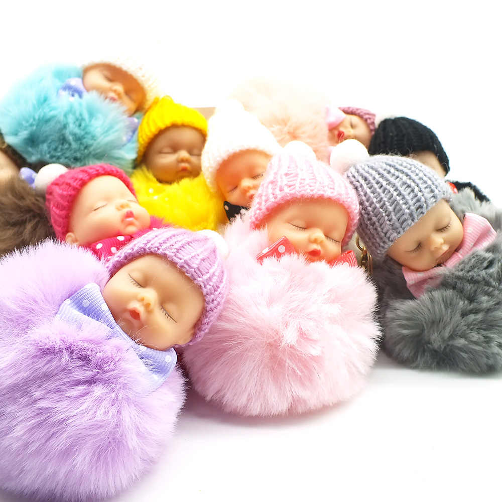 Moda Bola de Pêlo de Coelho Cadeia Chave Do Carro Chaveiro Das Mulheres Chave Saco Titular Pingente Bebê Dormindo Boneca Chaveiro Pompom Acessórios Charme