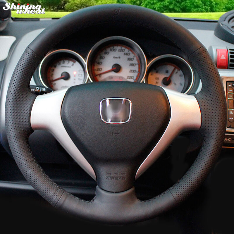 Shining wheat Hand-stitched Black Leather Steering Wheel Cover for Honda Old City Fit Jazz