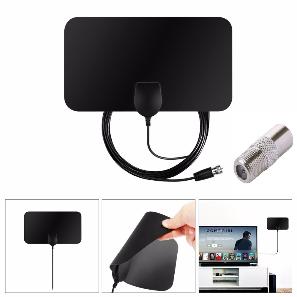 все цены на Indoor Digital TV Antenna Flat Design 50 Miles Booster Active Aerial Antenna Receiver