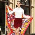 Echarpes femininas 2017 Geometric poncho womens scarfs fashionable ethnic spring summer 100% twill silk square scarf 130*130cm