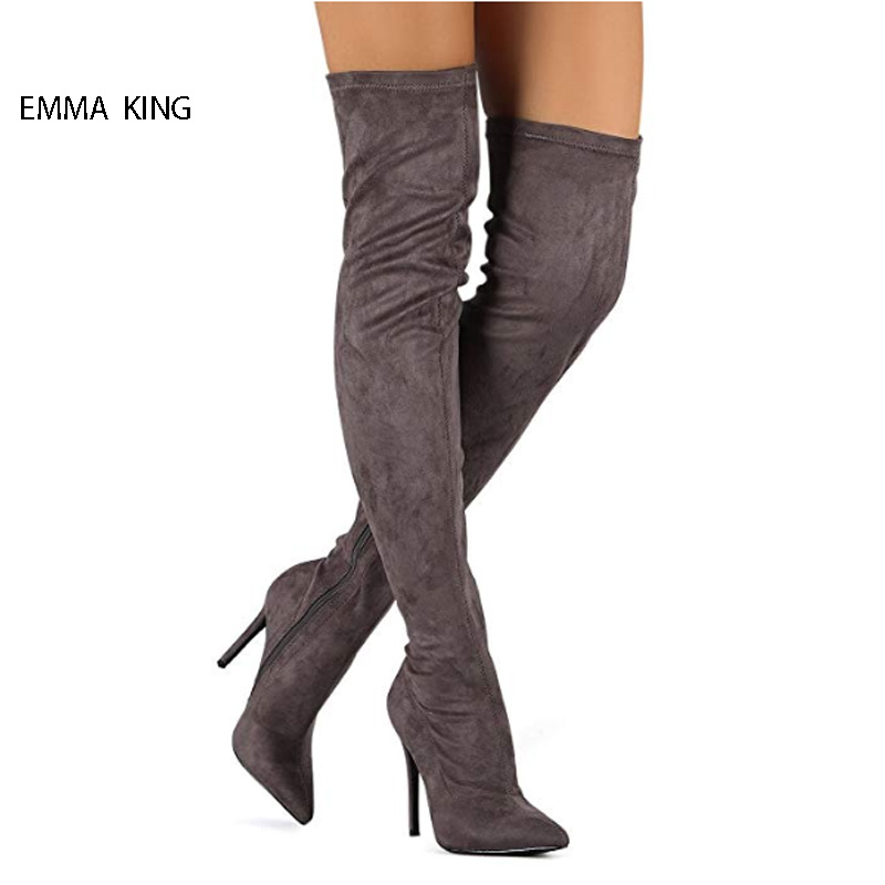 Fashion Autumn Winter Boots Women Suede Over The Knee Boots Zipper High Heels Pointed Toe Thigh High Botas Mujer Woman ShoesFashion Autumn Winter Boots Women Suede Over The Knee Boots Zipper High Heels Pointed Toe Thigh High Botas Mujer Woman Shoes