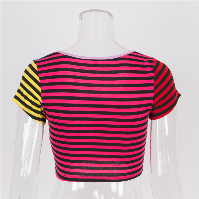 HTB1KfbZbizxK1RjSspjq6AS.pXaB - GBYXTY Women Summer T Shirt Short Sleeve Rainbow Striped Heart Zipper Cropped T-Shirt Femme Fitness Tee Shirt Crop Top ZA684