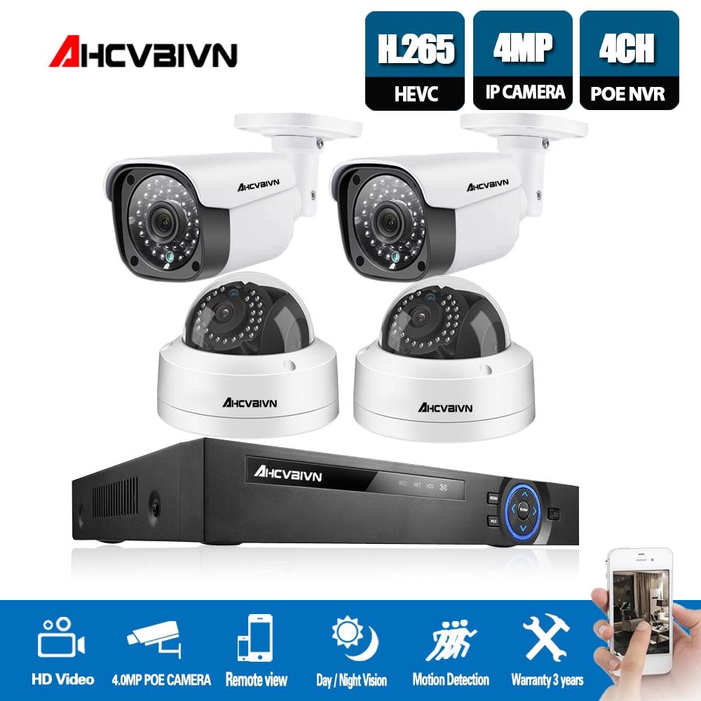 HD 4CH 5MP 1080P HDMI 48V 5MP POE NVR CCTV Sistema de Câmera de Segurança Ao Ar Livre Câmera IP P2P 4.0MP sistema de Vigilância de vídeo Kit NVR