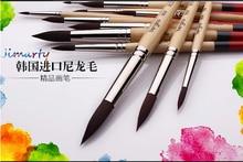 High Qualitty Nylon Hair Acrylic Paint Brush Set Head Wooden Handle Artists Gouache Watercolor oil Paint Brushes Art AHB022