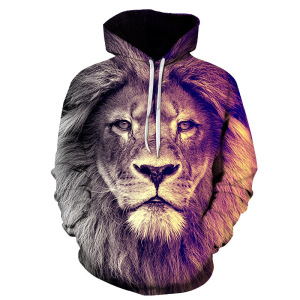 Image 5 - 2019 Animal print hooded Sweatshirts Purple green yellow Lion head 3D Hoodie Female Male Autumn Pullover Xxxtentacion Tracksuit