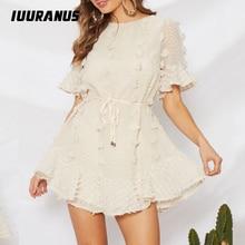 IUURANUS Elegant Fashion White Party Women Beach Dress 2019 Casual Ruffle Short Summer Mini Sash Dot