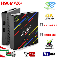 цены на Android 8.1 tv box H96MAX+ 4GB 64GB RK3328 Quad Core 2.4G/5G WiFi HDMI 4K H.265 USB 3.0 Iptv youtube Smart Media Player Set-Top  в интернет-магазинах