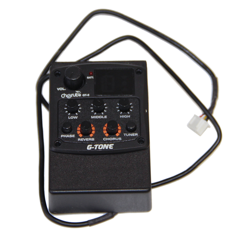 Cherub Preamp Piezo GT-5 Guitar 3-Band EQ Equalizer with Chromatic Tuner and Phase & Reverb & Chorus Effects guitar pick holder cherub acoustic guitar preamp gt 4 three band eq pickup with high low medium frequence equalizer adjustable guitar pick holder