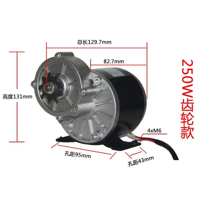 12 V 24 V 250 W Gebürstet Permanent Magnet DC-Getriebe Motor MY1016Z Elektrische Fahrrad Dreirad Ebike Gürtel Motor große Drehmoment