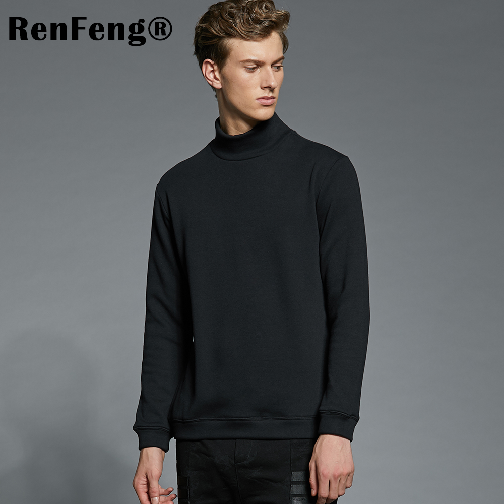 Mens Long Sleeve Cotton Turtle Neck High Elastic Warm