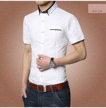 free shipping summer fashion breathable short sleeve shirts turn down collar classic cotton men dress shirt brand