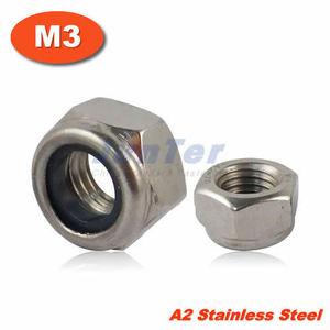 100pcs/lot DIN985 M3 Stainless Steel A2 Nylon Lock Nut