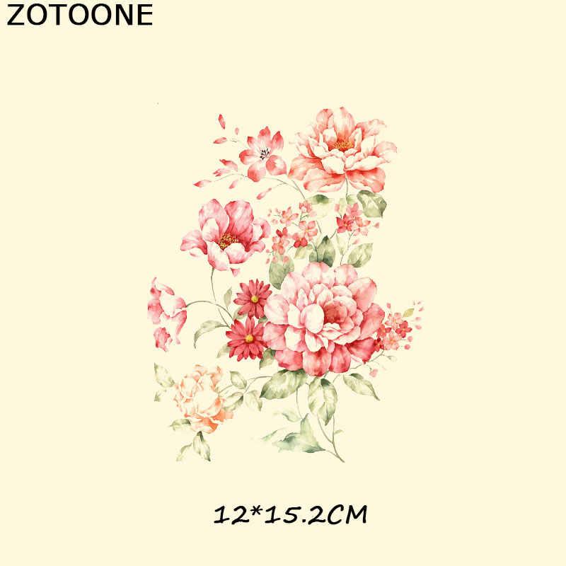 ZOOTONE 花アップリケアイアンでパッチ印刷 Tシャツドレスパンクヒッピー頭蓋骨熱転送アップリケ A-レベル服